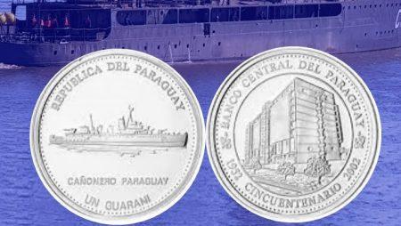 Moneda conmemorativa del Paraguay Cañonero Paraguay